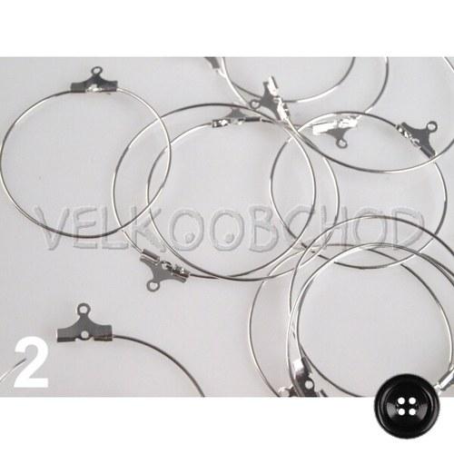 Náušnicové kruhy Kreola pr.30mm (6ks) - stříbrná