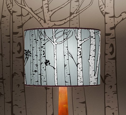 Stínítko na lampu Březový háj - stolní/stropní
