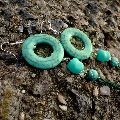 Tyrkysové na kameni - extra dlouhé -20% sleva