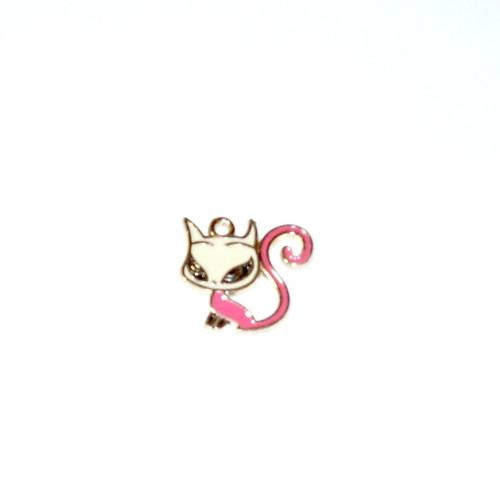 Přívěsek - kočka zlatě lemovaná růžová, 1 ks