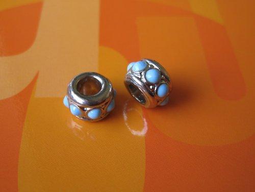 Komponent kroužek-modrý puntík,cena za 2ks