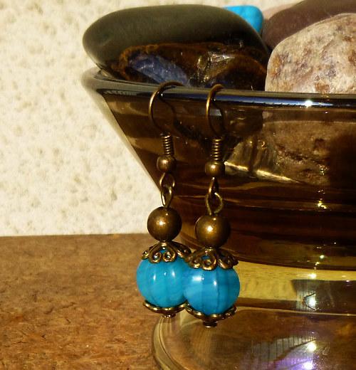 náušnice bronzové dýně tyrkysové