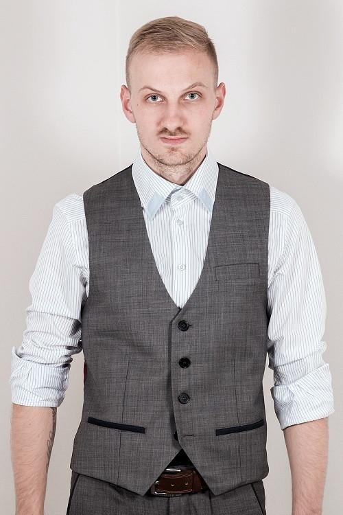 Společenská vesta - šedá, žíhaná