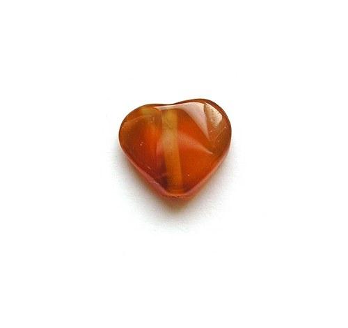 Srdíčko z karneolu, 15 x 12 mm - 1 kus