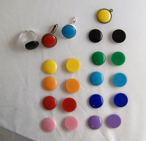 Akryl. čočka PASTEL plochá/ žlutá/ 16mm/ 2ks