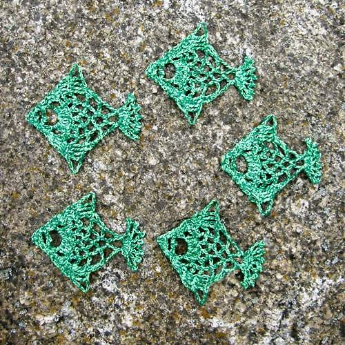 Háčkované rybičky zelené
