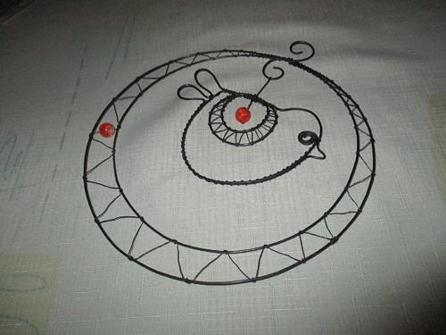 Ptáček v kruhu - oranžový