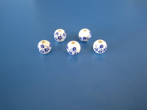 Ker.korálek bílý s modrýma kytičkama 3ks