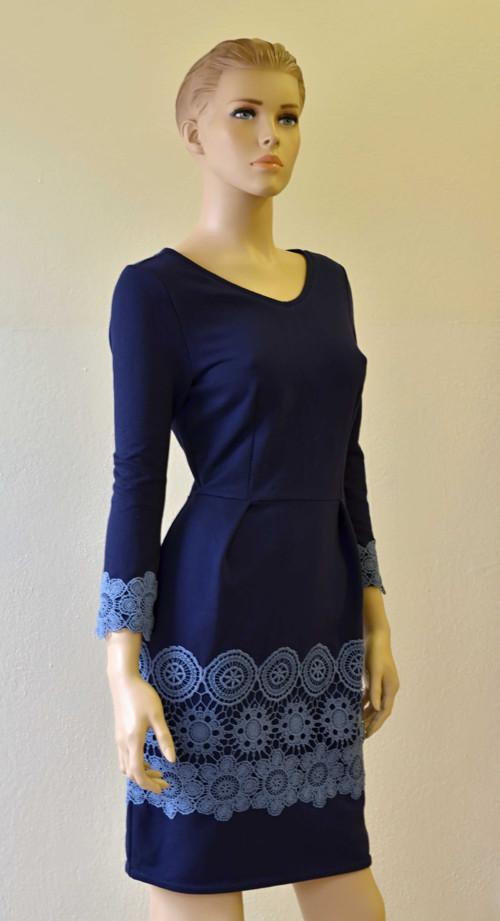 Úpletové šaty - Modré s krajkou