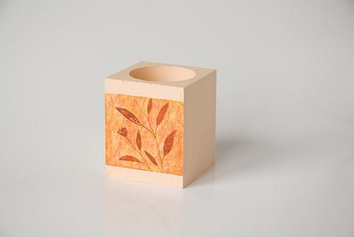 Podzimní dřevěný svícen