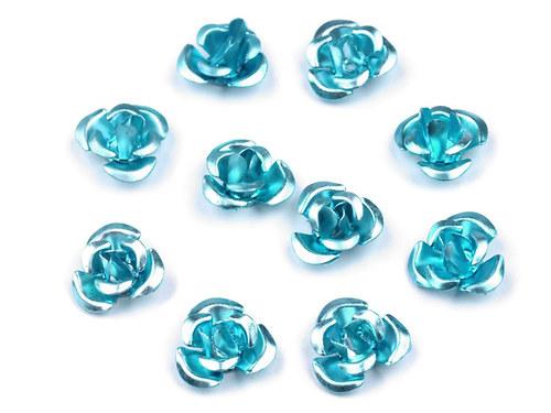 Růžička Ø10mm kovová světle modrá, 10ks