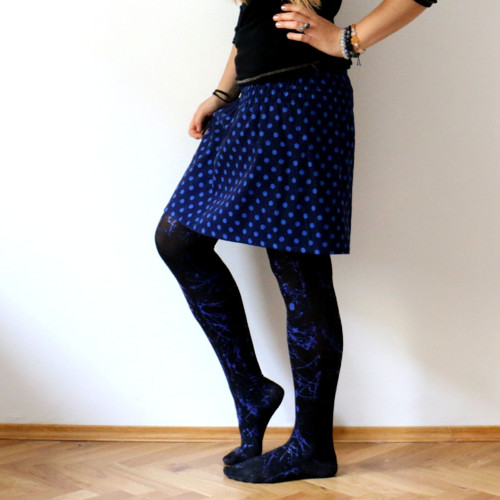 Žabková suknička, manžestrová - modrý puntík :)
