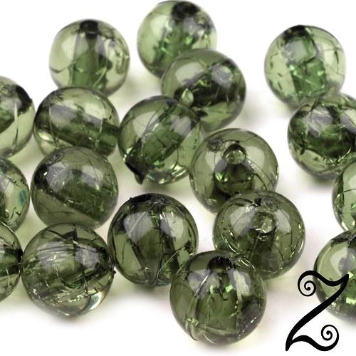 Korálky krakl, olivová, 8 mm (10ks)
