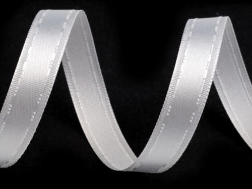 Atlasová stuha šíře 13mm (2m) - bílá