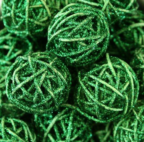 Ratanové koule zelené s glitrem - 3 ks