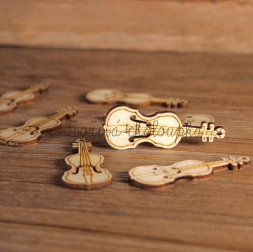 Dřevěný knoflík - housle *1 ks*