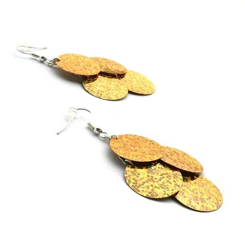 Zlaté flitrové náušnice