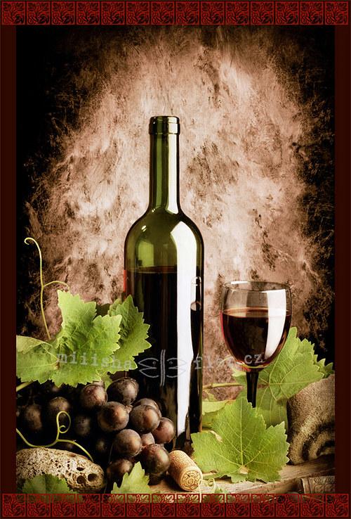 Zátiší s červeným vínem