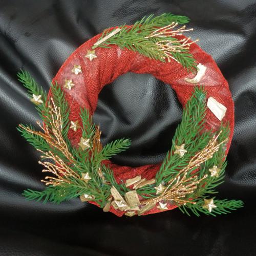 Vánoční věnec tm. červený s chvojkami