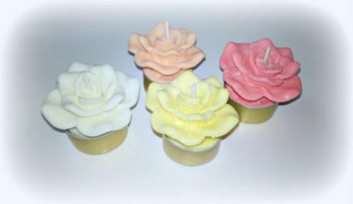 Sada čajových svíček z palmového vosku- růže
