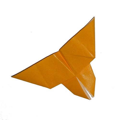 Origami motýlek - třpytivě žlutý