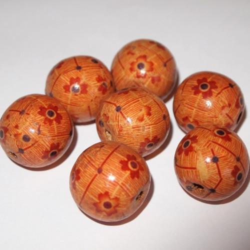 Dřevěné korálky - vzorované 22 mm (cena 7ks)