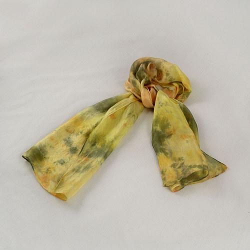 Batikovaná hedvábná šála - žluto-oranžovo-šedá