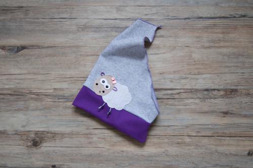 šedý šátek s fialovým lemem... ovečka