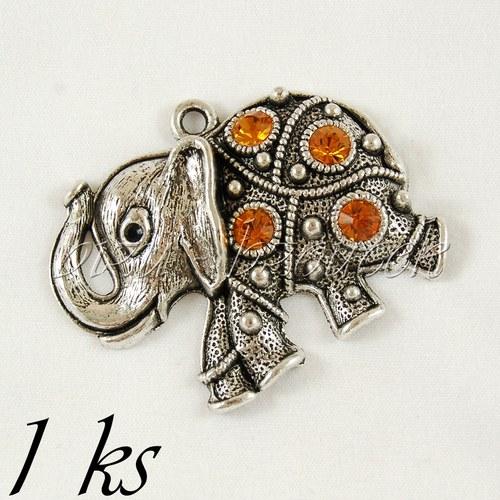 Běžící slon s medovými šatony, stř. barva - 1ks