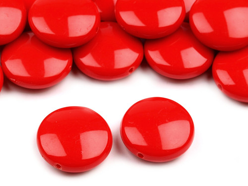 Plastové korálky 16mm placka / červené (10 ks)