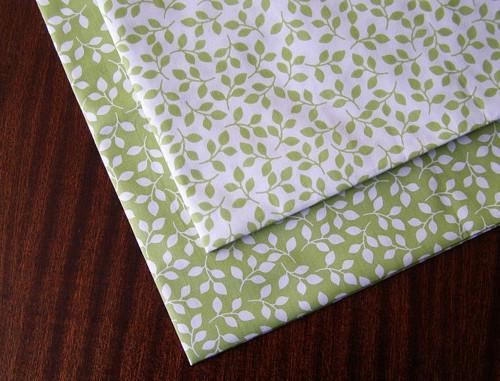 Zelené lístky na bílé ( 1ks 50 x 50 cm)