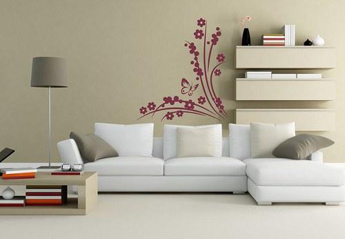 Kvety a motýlik 60x53cm Nálepka na stenu 3041n
