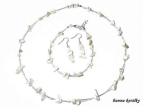 Souprava přírodní - náhrdelník, náramek a naušnice