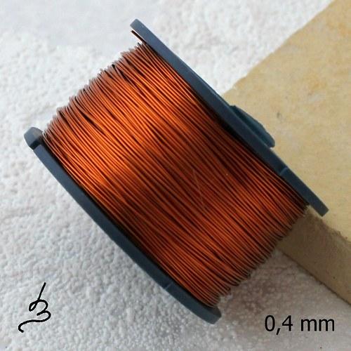 Měděný drát 0,4 mm lakovaný - 55 m