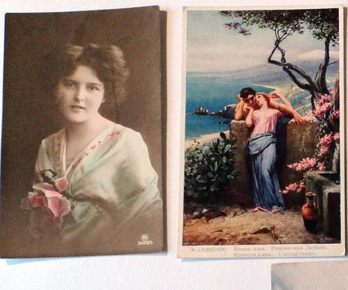 Žena romantička - soubor 7 hist. pohlednic
