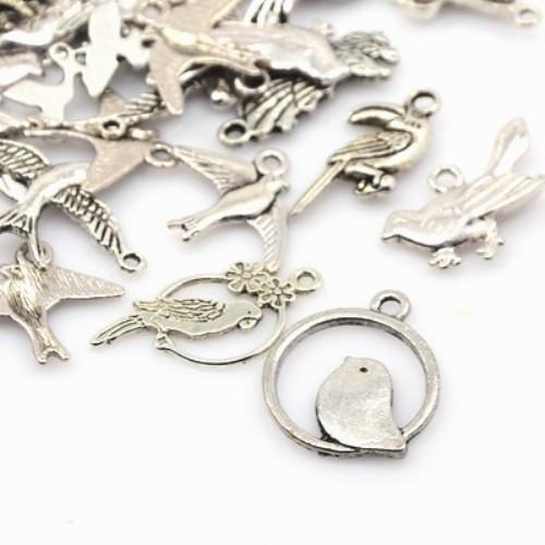 Ptáci a ptáčci -  antické stříbro mix