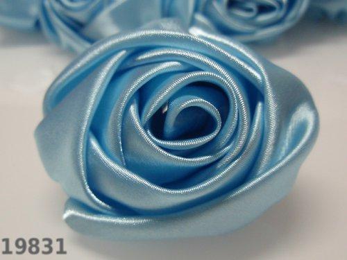 19831-B14 MAXI saténová růže 50mm! sv.modrá