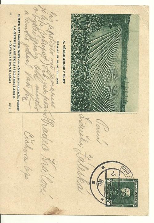 Dopisnice X. Všesokolský slet Praha 1938