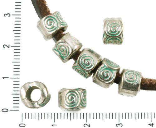 8ks Starožitné Stříbro Tón Tyrkysová Zelená Patina