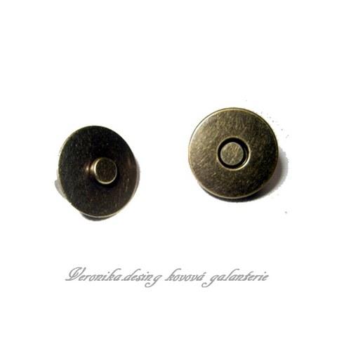 Magnetický buldok - 18 mm staromosaz sada 10 kusů