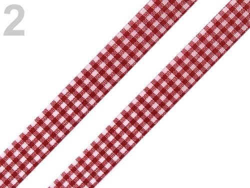 Stuha károvaná š.12mm řezaná červená