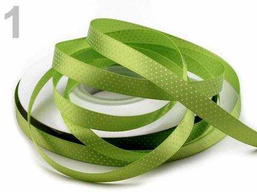 Saténová stuha 10 mm:Tečky: zelená