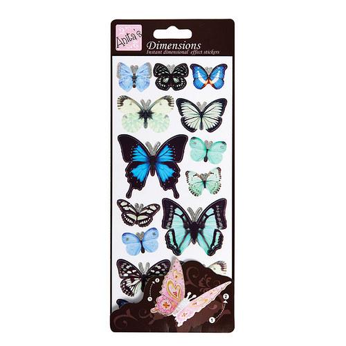 Plastické samolepky DIMENSIONS Motýlí křídla sBLUE