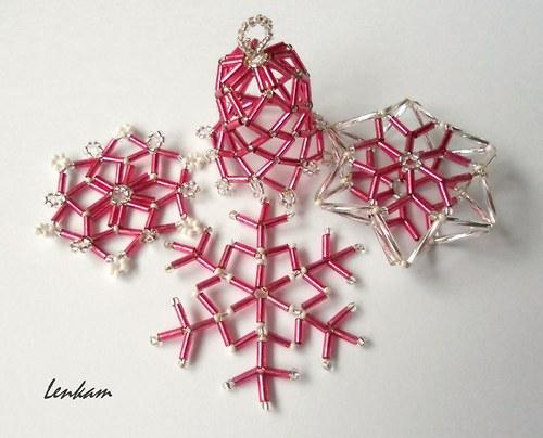 Vánoční ozdoby - sada růžovočervená