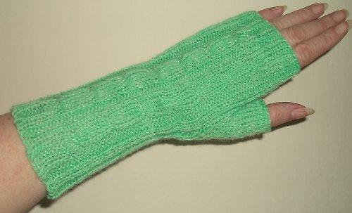 Pletené návleky na ruce - zelenkavé