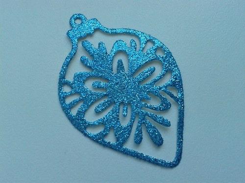 Vánoční ozdoba - modrá třpytivá