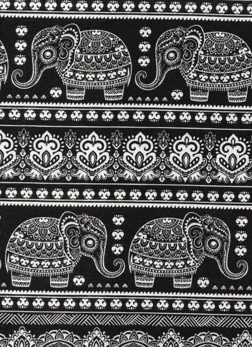Látka s potiskem, slon béžový, černý podklad