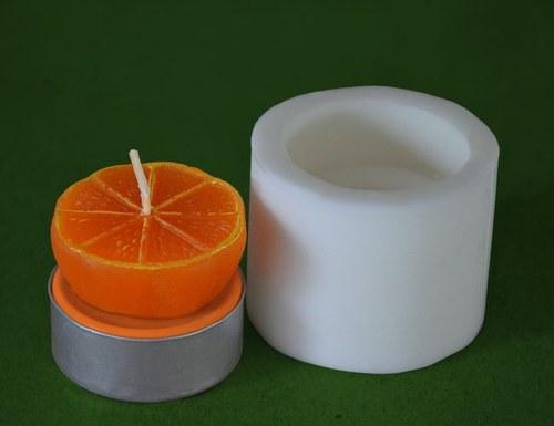 Silikonová forma na čaj. svíčku - Mandarinka půlka