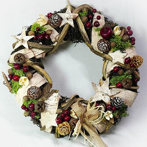 Vánoční věnec -  Březový s hvězdičkami