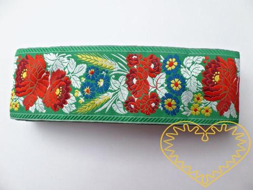 Zelená krojová stuha polyester - vzorovka š 7 cm